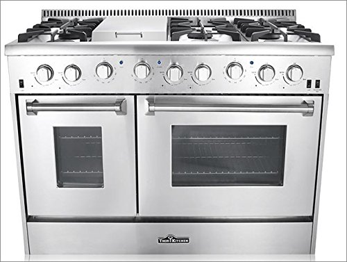 (Thor Kitchen Gas Range with 6 Burners and Double Ovens, Stainless Steel - HRG4808U-1 )