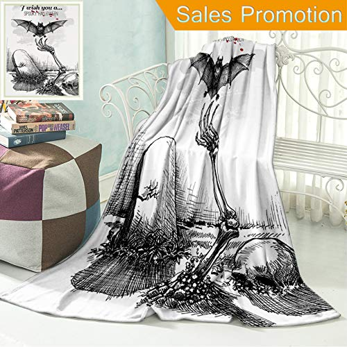 """(Unique Custom Flannel Blankets Halloween Decorations Dead Skull Zombie Out of Grave and Flying Bat Hand Drawn Style Spooky Pict Super Soft Blanketry for Bed Couch, Twin Size 60"""" x)"""