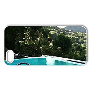 Swimming Pool with Tropical View - Case Cover for iPhone 5 and 5S (Beaches Series, Watercolor style, White)