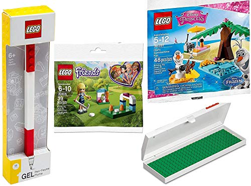 Olaf Friends Snowman Stephanie Building Kit Friendship Summertime Frozen Fun with Mini Figure + Pencil Case with Red Brick and baseplate Princess Gel Pen with Topper 4 Pack -