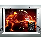 FHZON 10x7ft Halloween Background Burning Skeleton Guitar Sound Flame Backdrop Photography Theme Party Photo Booth Props PFH577