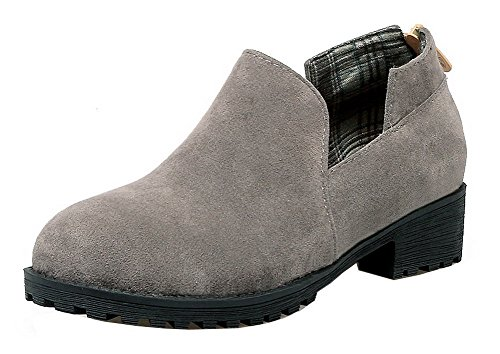 Odomolor Women's Round-Toe Pull-On Frosted Solid Low-Heels Pumps-Shoes Gray yn4VUr1Nk