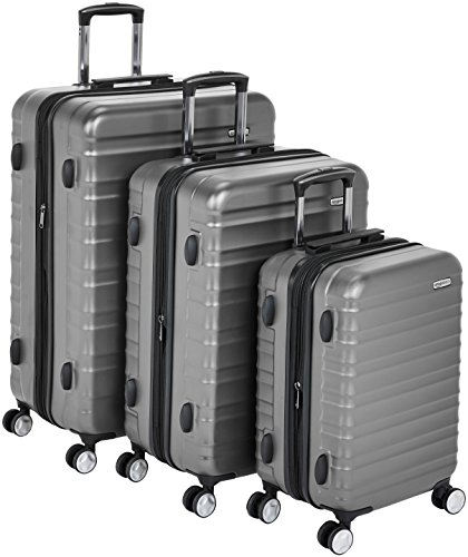 "AmazonBasics Premium Hardside Spinner Luggage with Built-In TSA Lock - 3-Piece Set (20"", 24"", 28""), Grey"