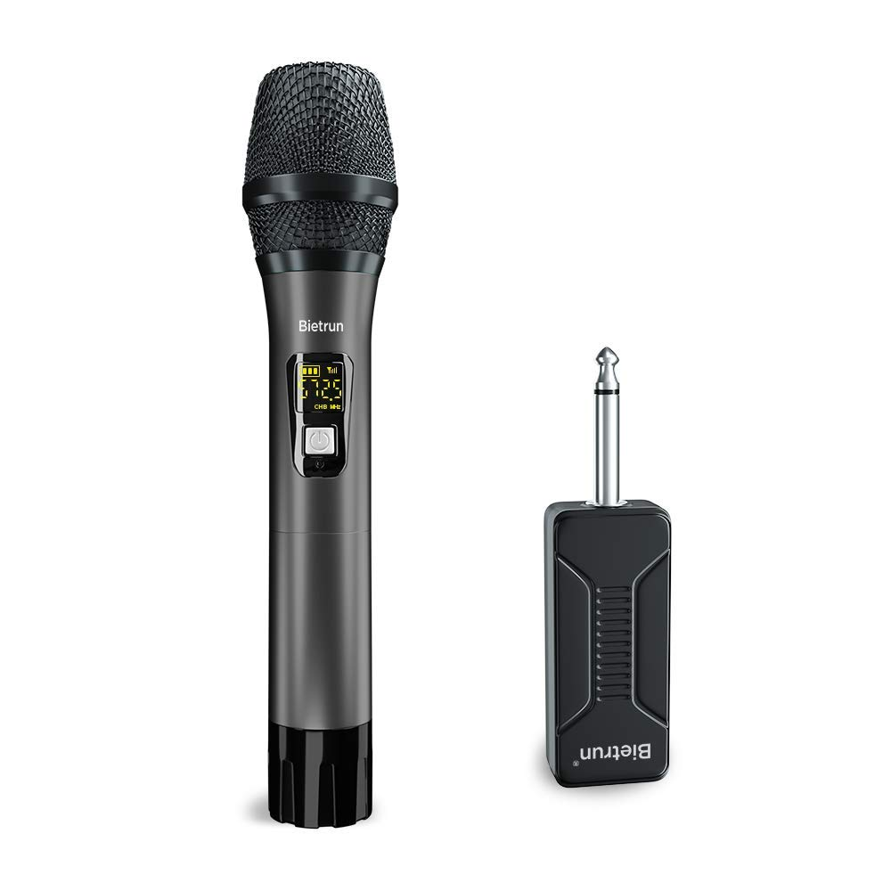 Wireless Microphone, UHF Handheld Dynamic Microphone Wireless Mic System Set with Rechargeable Receiver, 260ft Range, 1/4'' Plug, for Karaoke, Voice Amplifier, PA System, Singing Machine, Church by Bietrun