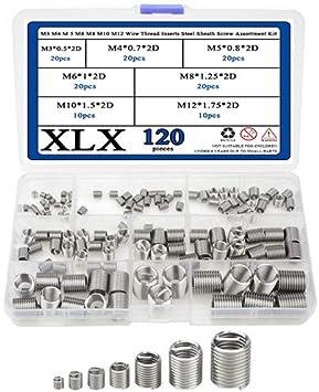 M3 M4 M 5 M6 M8 M10 M12 Wire Thread Inserts Steel Sheath Helical Type Screw Repair Sleeve Assortment Kit-60 Pcs