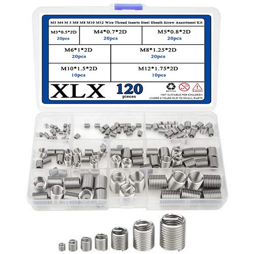 (XLX 120pcs M3 M4 M 5 M6 M8 M10 M12 Wire Thread Inserts Steel Sheath Helicoil Type Screw Repair Sleeve Assortment Kit with Plastic Box)