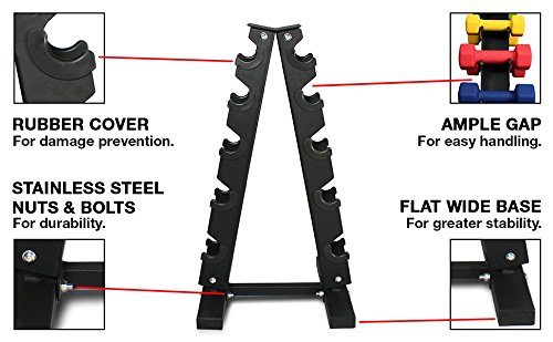 Fitness Alley Steel Dumbbell Rack - 5 Tier Weight Holder & 5 Tier Weight Rack Dumbbell Stand - Dumbbell Holder - Dumbbell Rack Stand - Weight Racks for Dumbbells of All Sizes by Fitness Alley (Image #1)
