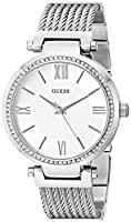 GUESS Women's Stainless Steel Crystal Accented Wire Bangle Bracelet Watch, Color: Silver-Tone (Model: U0638L1)