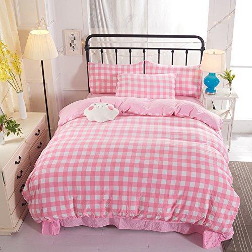 "KFZ Kids 4pcs Cotton Bedding Autumn Winter Duvet Cover Without Comforter Flat Bedsheet Pillowcases CQ Twin Full Queen Plaid House Scen Rose Women Designs (Plaid House, Pink, Twin,60""x 80"")"