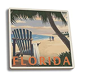 Adirondack Chairs and Sunset - Florida (Set of 4 Ceramic Coasters - Cork-backed, Absorbent)