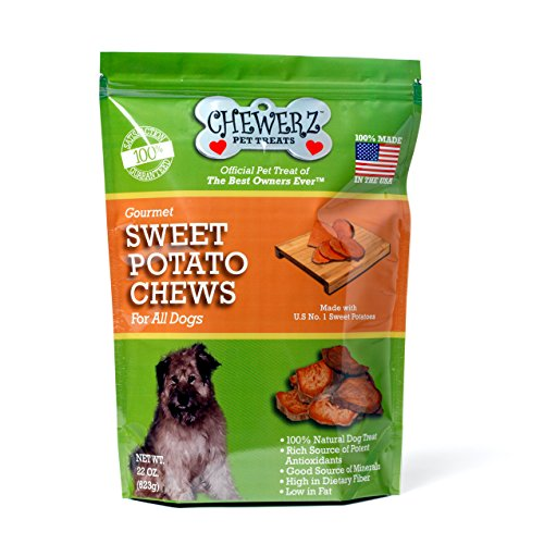 Chewerz SWEET POTATO DOG TREATS, Made in USA Only, Best All Natural Taters Pet Snack, Healthy Grain Free Chews, Premium USA #1 Yams, Choice Vegetarian Treat For Dogs, (22 oz)