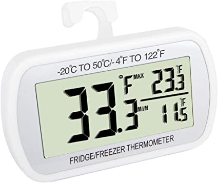 Digital Waterproof Refrigerator Freezer Room Thermometer Max//Min with Large LCD