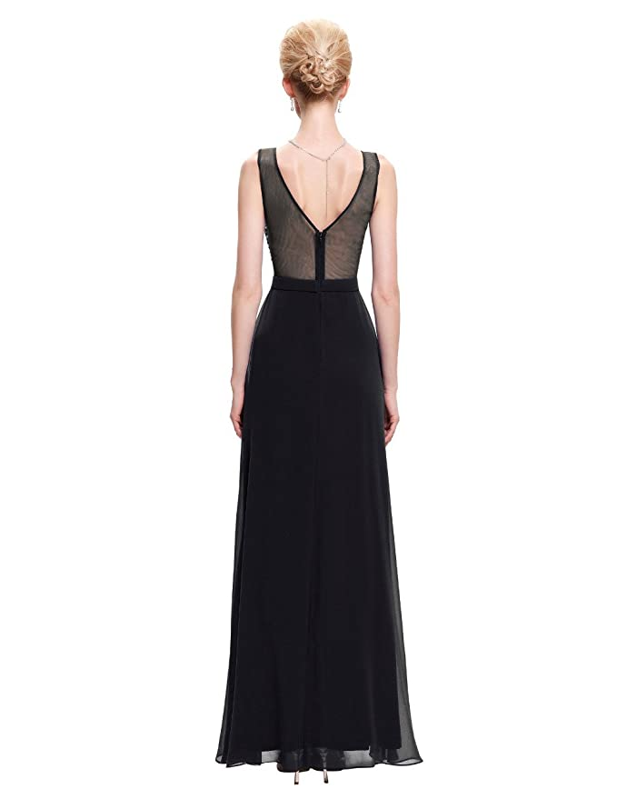 Yahmet Womens Long Elegant Evening Dresses Cheap Chiffon Formal Party Dress with Illusion Back Prom Gown 2017 at Amazon Womens Clothing store: