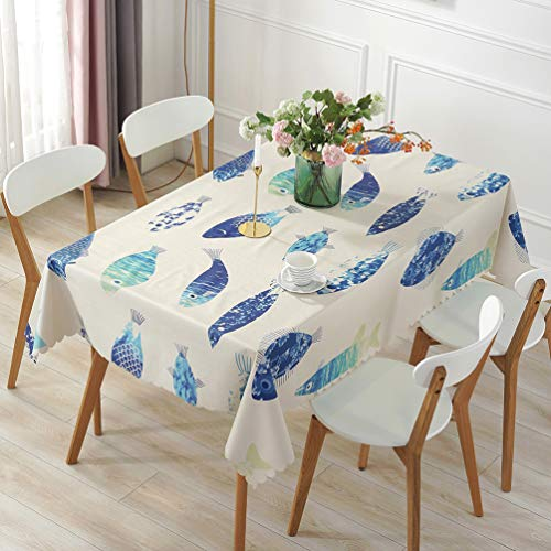 (LEMON. Floral 100% Waterproof PVC Table Cloth, 50 Inch Vinyl Oil-Proof Spill-Proof Round Tablecloth, Wipeable Table Cover for Indoor and Outdoor Camping Picnic Circle Table Cloth(Blue Fish))