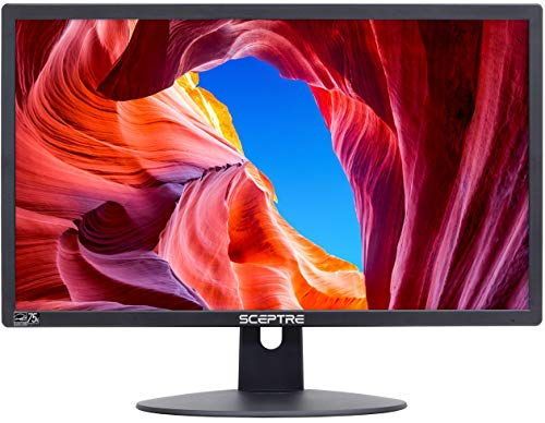 "Sceptre E225W-19203R 22"" Ultra Thin 75Hz 1080p LED Monitor 2x HDMI VGA Build-in Speakers, Metallic Black 2018"