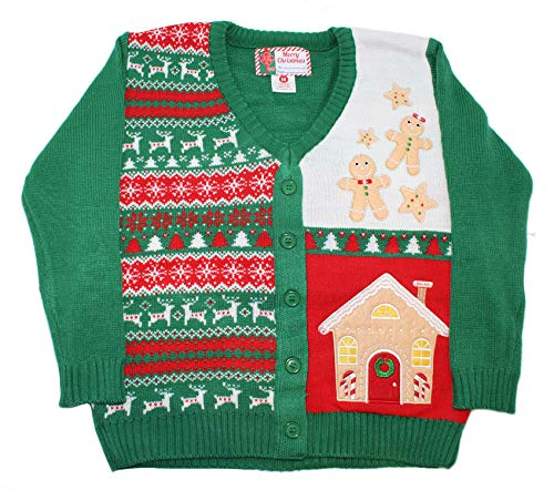 Blue Star Clothing Adult Unisex Ugly Christmas Holiday Pullover Cardigan Sweater with Real Button Closure Ginger Bread, Small - Gingerbread Embellishments