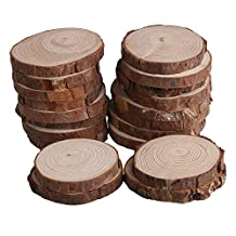 RDEXP 7cm-8cm Dia Natural 1cm Thickness Wood Unfinished Round Discs Tree Bark Wooden Circles for DIY Craft Set of 20