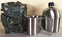 G.I. Style Stainless Steel 1qt. Canteen with Cup. & Genuine G.I. Surplus, ACU MOLLE II Pouch.