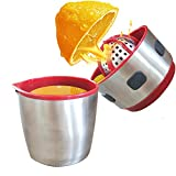 Portable Manual Citrus Press Juicer - Stainless Steel Hand Citrus Juice Squeezer Extractor with Strainer and Container for Orange Lemon Grapefruit Tangerines