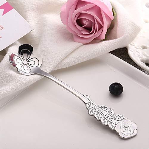 (Fine Coffee Spoon Stir Spoons Flower Handle Stainless Steel Cutlery Stirring Spoon Flower Coffee Spoon Ice Cream Scoop(Silver Four-leaf)