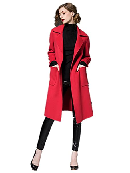 dressvip rodilla longitud exterior de lana rojo abrigos con cinturón para mujer: Amazon.es: Ropa y accesorios