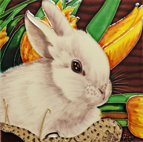 Continental Art Center BD-2101 8 by 8-Inch Rabbit with Yellow Lily Flower Ceramic Art Tile from Continental Art Center