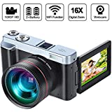 Digital Video Camera Camcorder DIWUER WiFi Vlogging Camera for YouTube Full HD 1080P 30FPS 3.00 Inch Flip Screen 16X Digital Zoom Recorder with Wide Angle Lens and Two Batteries