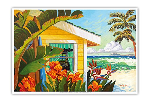 The Cottage at Crystal Cove - Laguna Beach California - Tropical Paradise - from an Original Watercolor Painting by Robin Wethe Altman - Master Art Print - 13in x - Art Painting Original Beach
