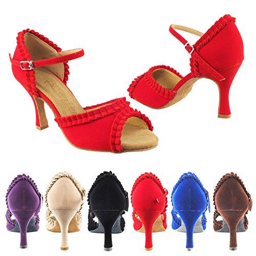 Party Party Sera7001 Comfort Avondjurk Pump, Trouwschoenen: Dames Ballroom Dansschoenen 2,5 & 3 Hak, Salsa, Tango, Latin, Swing Salsa Tango Swing Latin 7001- Blauw Velours