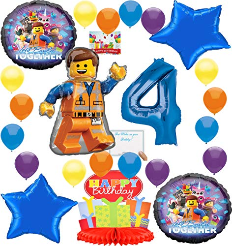 Lego Movie 2 Deluxe Balloon Decoration Bundle for (4th Birthday)]()