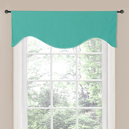 H.Versailtex Blackout Curtain/Window Scallop Valances For Bedroom / Living  Room, Rod Pocket Top   50x17   Inch In Aqua Green