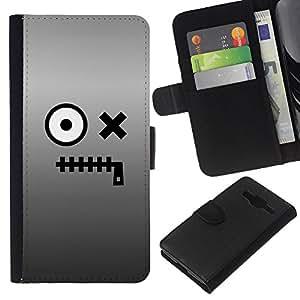 EJOY---La carpeta del tirón la caja de cuero de alta calidad de la PU Caso protector / Samsung Galaxy Core Prime / --Carácter Ojos Monstruo de la historieta