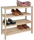 Holz Schuhregal XL mit 4 Etagen