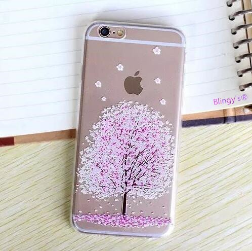iPhone 8 Case/iPhone 7 Case(4.7inch),Blingy's Beautiful Flower Series Transparent Clear Soft TPU Protective Rubber Case for iPhone 8/iPhone 7 (Cherry Blossoms ()