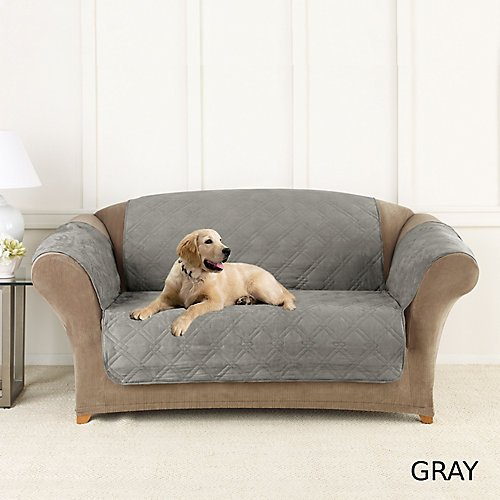 Sure Fit SF44891 Microfiber Loveseat Pet Throw/Slipcover with Arms, Dark Gray