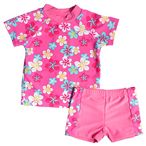 BAOHULU Toddlers & Big Girls Swimsuit Two-Piece Tankini UPF 50+ UV Protective, 3-12 Years (Tag No.104/110(3-4Years), Flower)