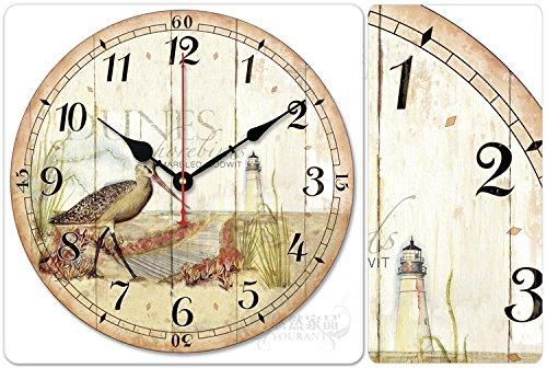 "iCasso 12"" 30cm Round Sea Bird Lighthouse Wooden Wall Clock Wooden Wall Art Decor"