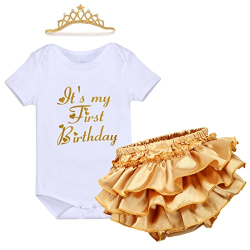 Crown Skirt - Newborn Baby Girl It's My 1st Birthday Cake Smash Crown 3Pcs Outfits Romper Tutu Skirt Headband Clothes Set