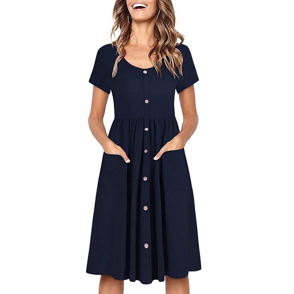 URIBAKY Knielanges Kleid Frauen-Sommer-Ärmellos Feste Kurzarm Taschen-Sommerkleid-beiläufiges Kleid minikleid Strandkleid Freizeit Kleider mit Blumen gedruckte
