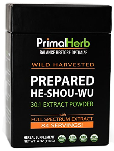 Herb Tea Extract - He Shou Wu Fo ti Root Extract Powder - by Primal Herb | Longevity Tea - Supports Hair Growth & Glowing Skin | Organic Potent 30:1-84 Servings - Aged Roots | Includes Bamboo Spoon
