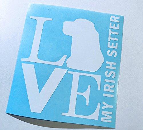 (Love My Irish Setter Square White Vinyl Decal | Dog Lovers vinyl art)