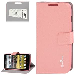 Silver Hairline Texture Leather Case with Credit Card Slots & Holder for Lenovo A656 / A766 (Pink)