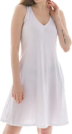 Midi Striped T-Shirt Dress Side Pockets Scoop Neck Sleeveless Summer Beach S-XL