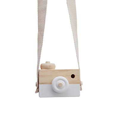 Edtoy Baby Kids Mini Cute Wood Camera Toys Children Fashion Clothing Accessory Safe And Natural Toys Birthday Christmas Gift, White: Toys & Games