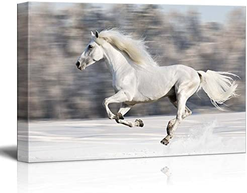 White Horse Runs Gallop in Winter Wall Decor