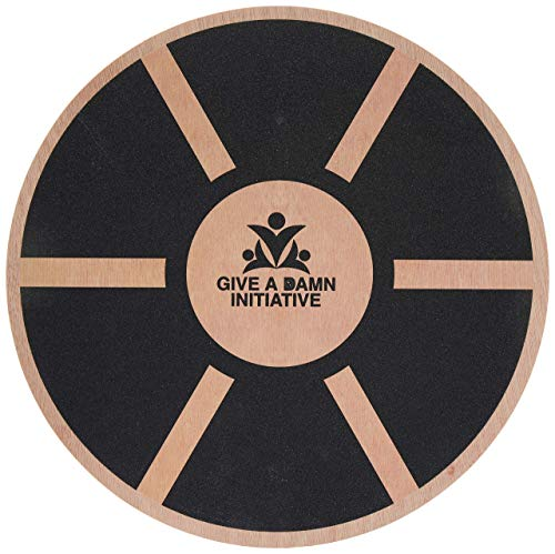 Give A Damn Initiative 14 Inch Wooden Wobble Balance Board Portable and Compact – Exercise at Gym or Standing Office Desk – Fitness Stamina Dance Motion Trainer – Ankle Physical Therapy Workout