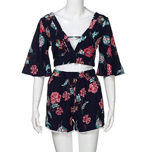 D't Chic Sexy T V Shirt Dcontract Chemiser Femmes Tops en Imprimer Blouse Courte 2 Col Bleu Pices Botanique wqxc4CROSU
