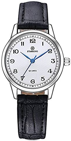 STARKING Watch Ultra Thin Women Genuine Leather BL0908 Japanese Quartz Numbers Waterproof Vintage (Watch Waterproof Prime)