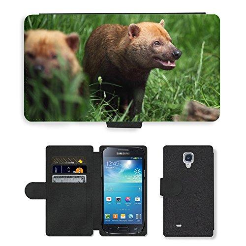 Mini Grass Bush - Just Phone Cases Flip PU Leather Wallet Case with Credit Card Slots // M00128769 Animal Brown Bush Dog Grass Hair // Samsung Galaxy S4 Mini i9190
