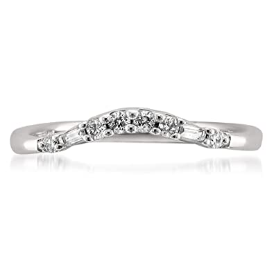 14k white gold baguette diamond curved wedding